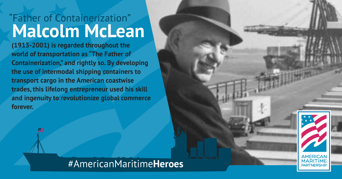 photo of Malcom McLean in front of a shipping yard