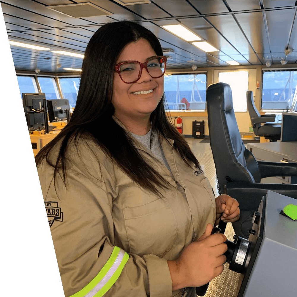 Reisa Martinez in the control room of a ship